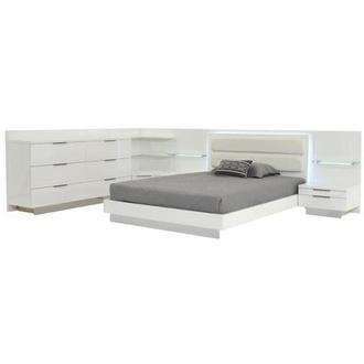 Ally White Queen Bed W 2 Nightstands Dresser Corner Unit