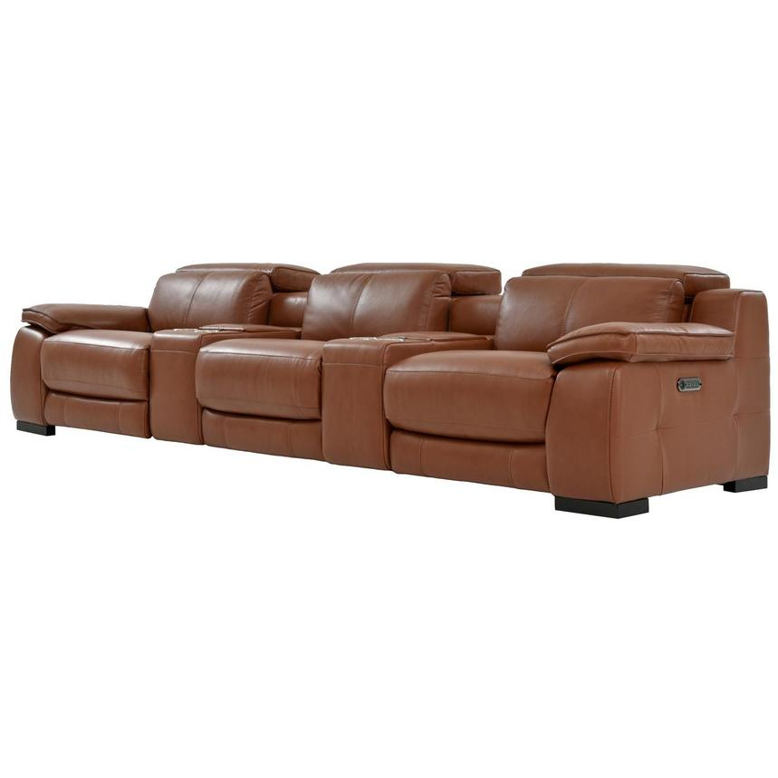 Gian Marco Tan Home Theater Leather Seating  alternate image, 3 of 11 images.