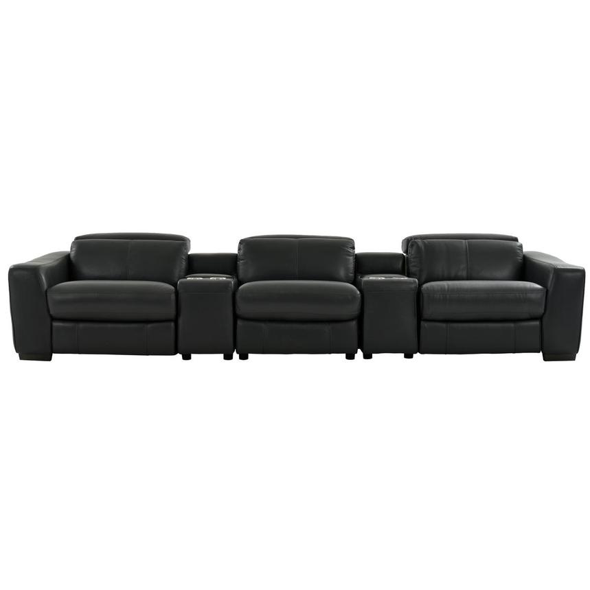 Jay Dark Gray Home Theater Leather Seating  main image, 1 of 10 images.