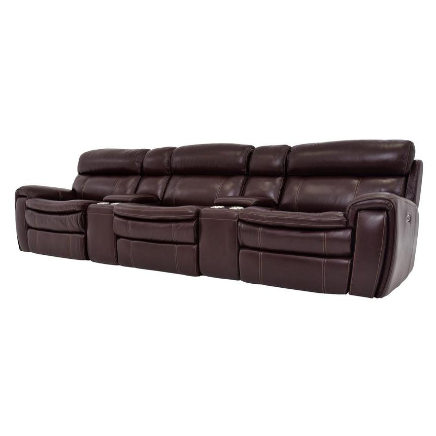 Napa Burgundy Home Theater Leather Seating  alternate image, 2 of 8 images.