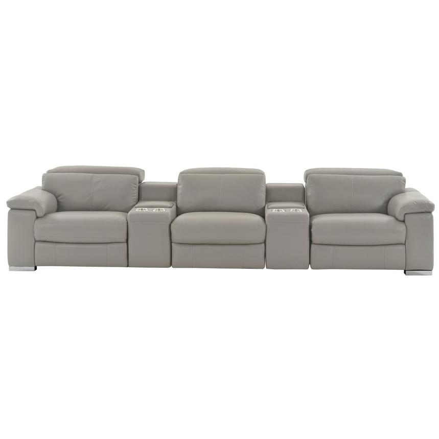Charlie Light Gray Home Theater Leather Seating  main image, 1 of 11 images.