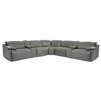 Austin Dark Gray Power Motion Leather Sofa w/Right & Left Recliners