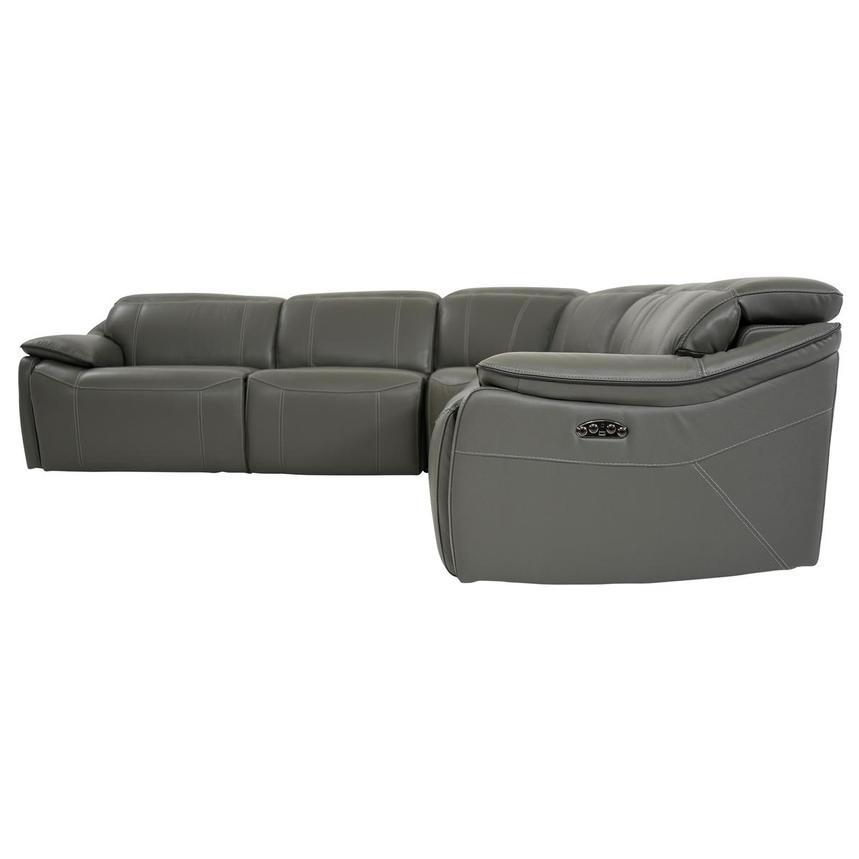 Austin Dark Gray Leather Power Reclining Sectional  alternate image, 4 of 9 images.