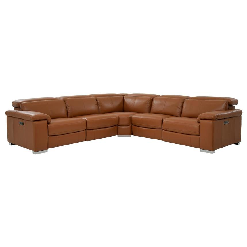 Charlie Tan Leather Power Reclining Sectional  main image, 1 of 9 images.