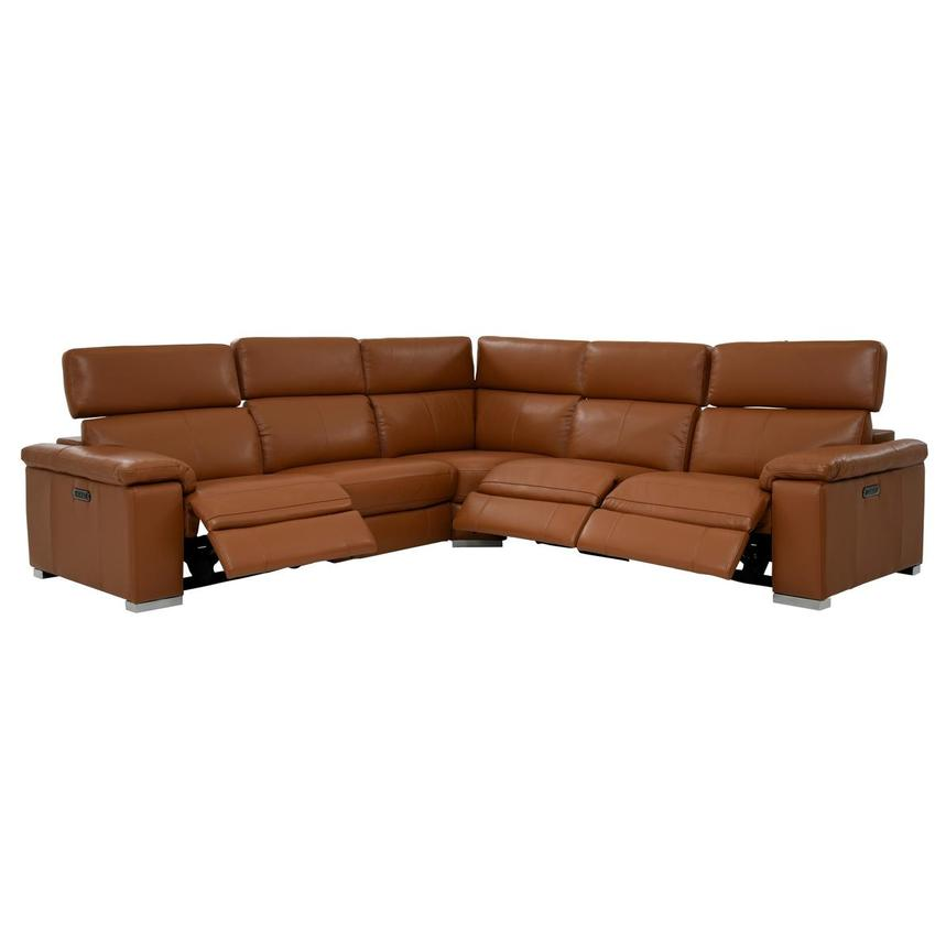Charlie Tan Power Motion Leather Sofa w/Right & Left Recliners  alternate image, 2 of 9 images.
