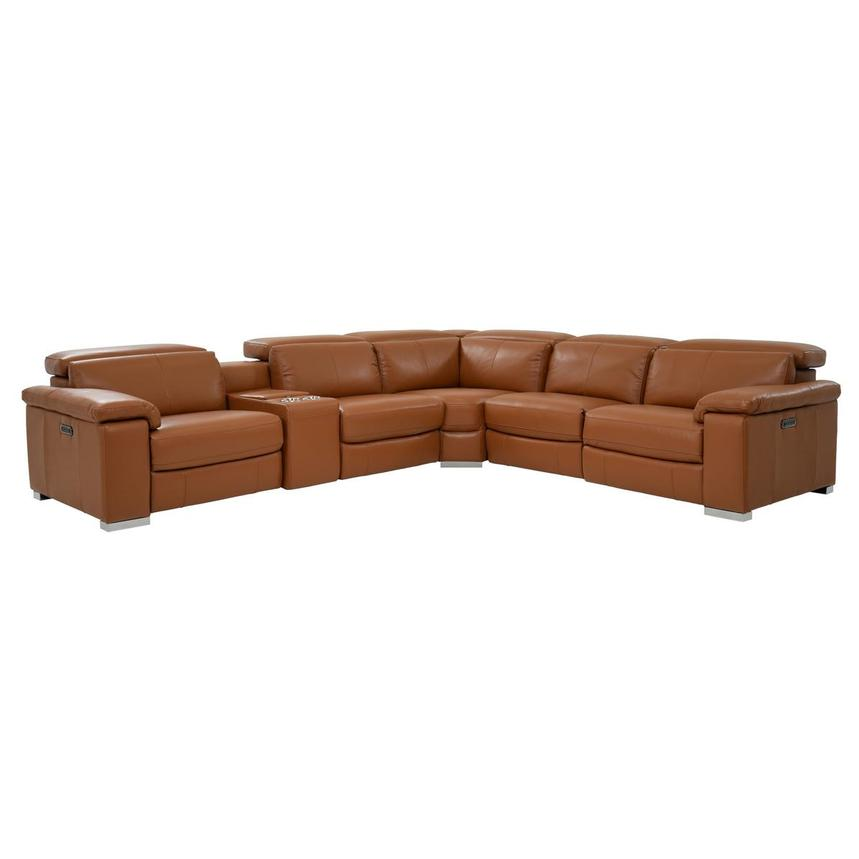 Amazing Charlie Tan Leather Power Reclining Sectional Bralicious Painted Fabric Chair Ideas Braliciousco