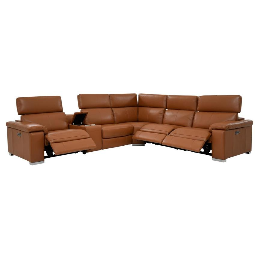 Charlie Tan Power Motion Leather Sofa w/Right & Left Recliners  alternate image, 2 of 10 images.