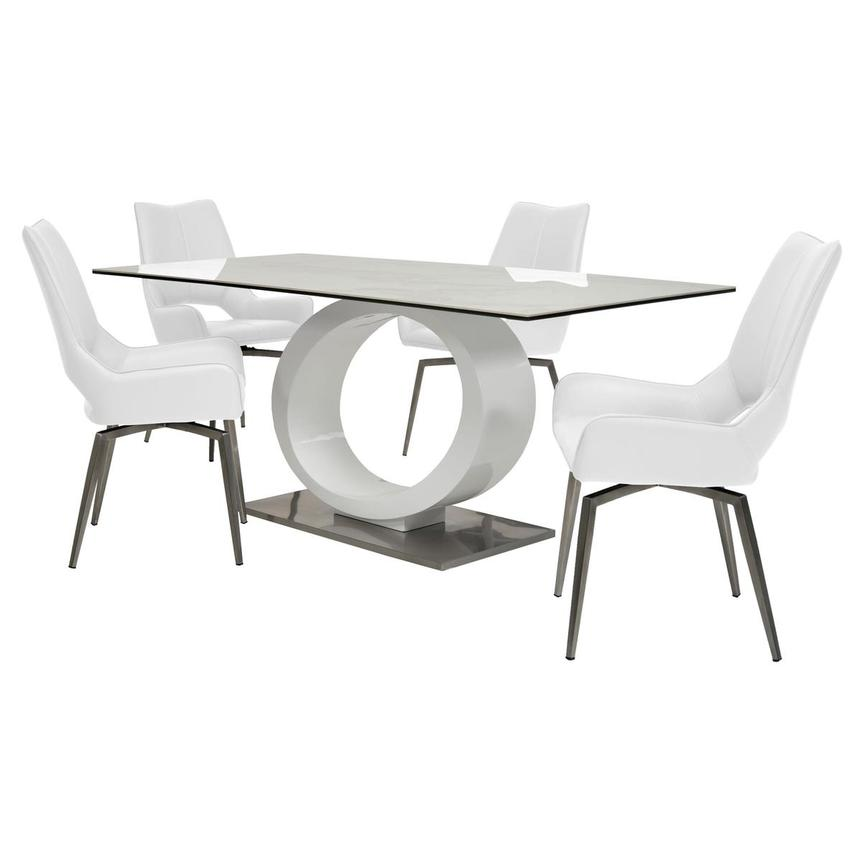 Fenti/Kalia White 5-Piece Formal Dining Set  main image, 1 of 14 images.