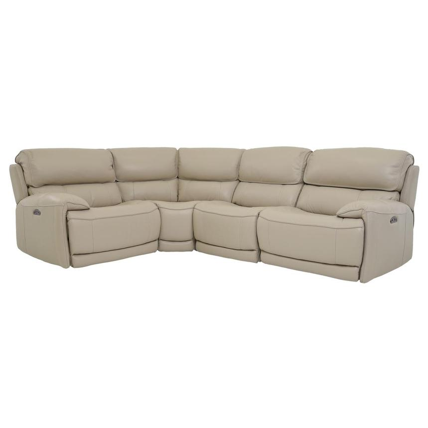 Cody Cream Leather Power Reclining Sectional  main image, 1 of 6 images.