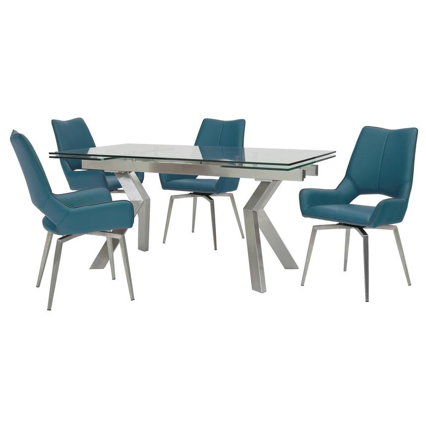 Lynne Clear/Kalia Blue 5-Piece Formal Dining Set  main image, 1 of 15 images.