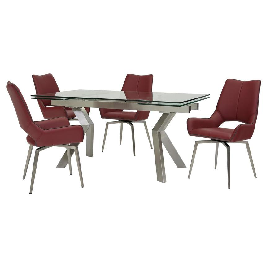 Lynne Clear/Kalia Red 5-Piece Dining Set  main image, 1 of 14 images.