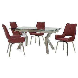 Lynne Clear/Kalia Red 5-Piece Formal Dining Set