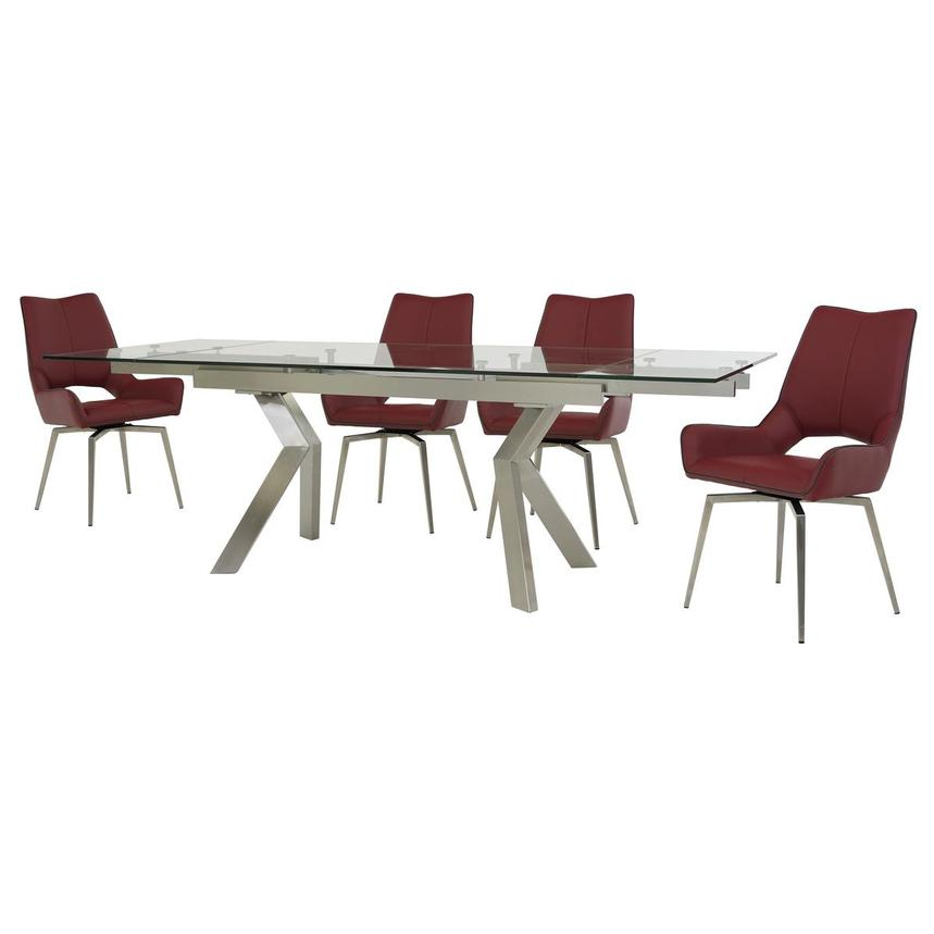 Lynne Clear/Kalia Red 5-Piece Formal Dining Set  alternate image, 2 of 15 images.