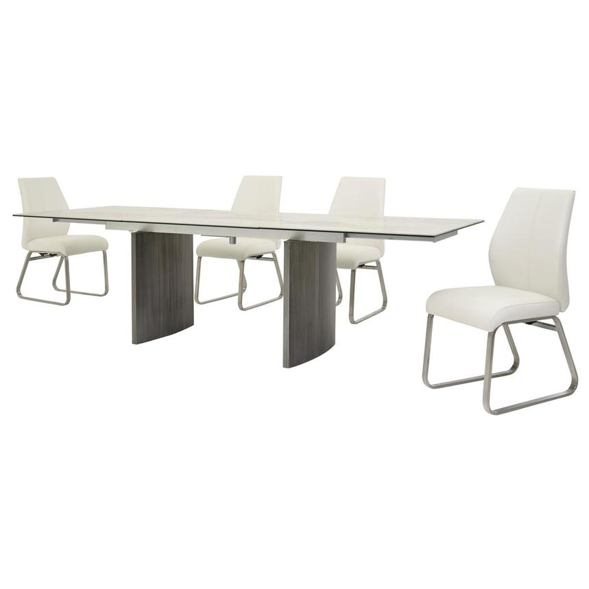 Rome White 5-Piece Formal Dining Set  alternate image, 2 of 16 images.