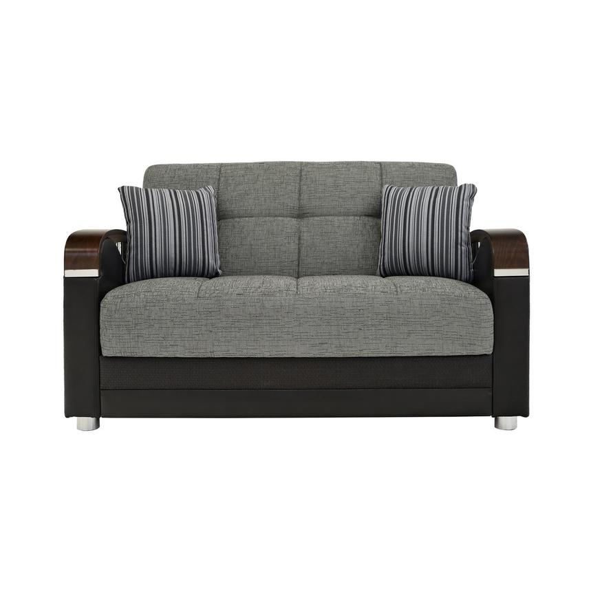 Peron Gray Futon Loveseat  main image, 1 of 8 images.