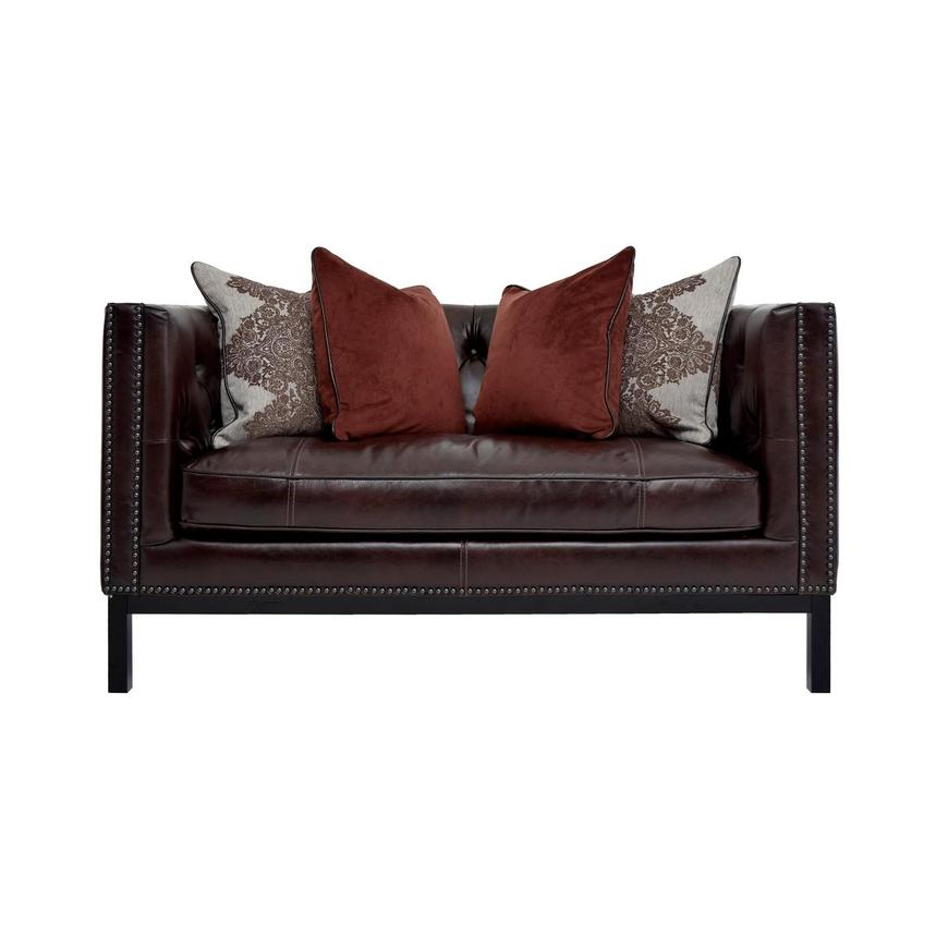 Sophia Brown Leather Loveseat  main image, 1 of 7 images.