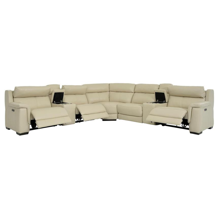 Amanda Cream Power Motion Leather Sofa w/Right & Left Recliners  alternate image, 2 of 11 images.