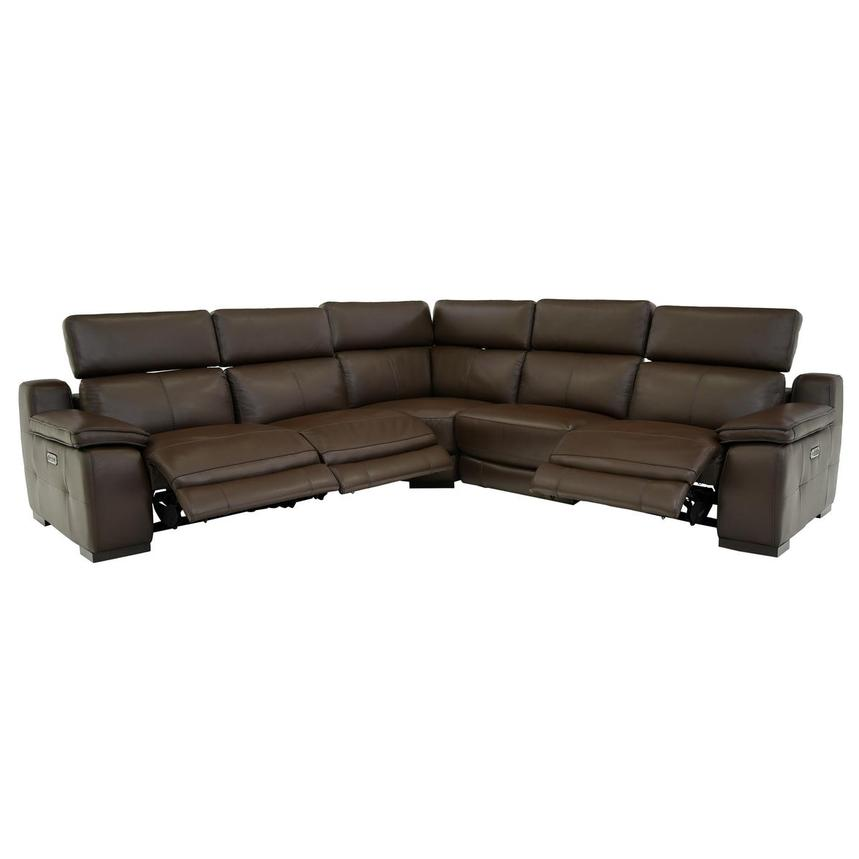 Gian Marco Brown Power Motion Leather Sofa w/Right & Left Recliners  alternate image, 2 of 7 images.