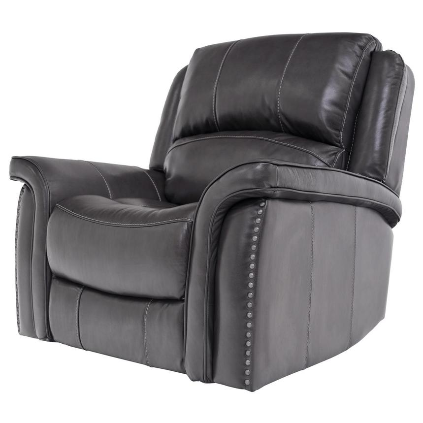 Raleigh Gray Power Motion Leather Recliner  alternate image, 2 of 9 images.