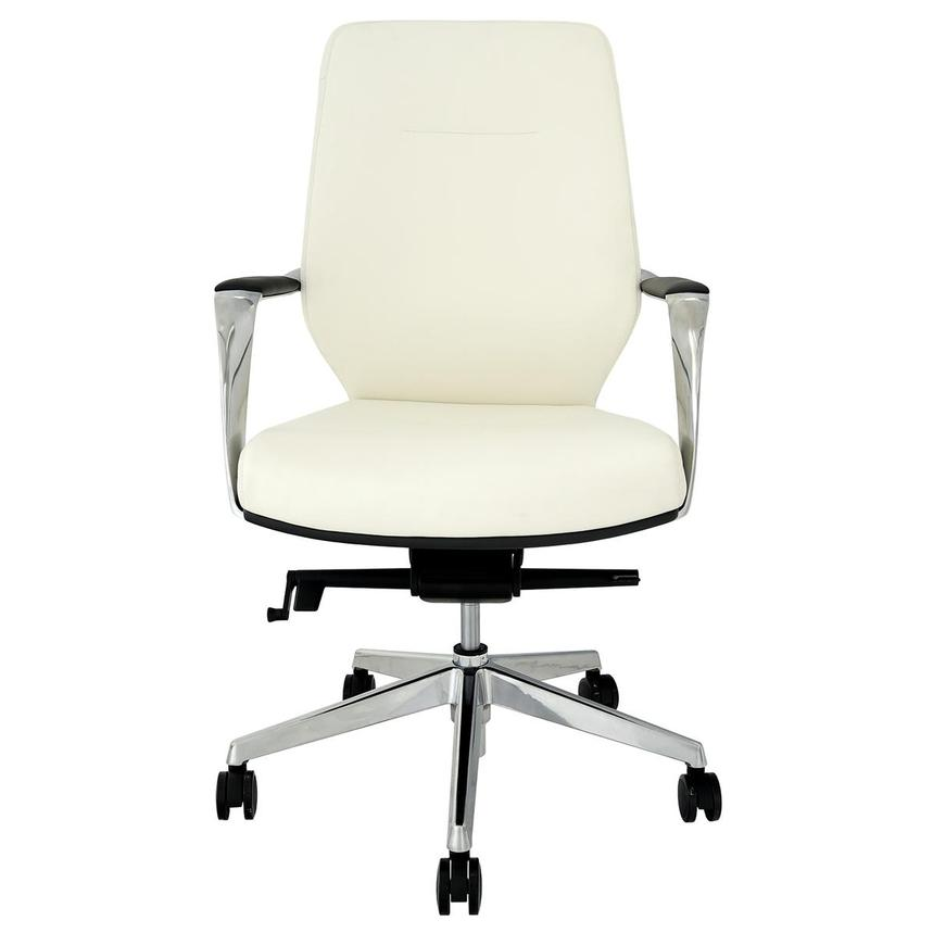 Yoshi White Low Back Desk Chair  main image, 1 of 8 images.