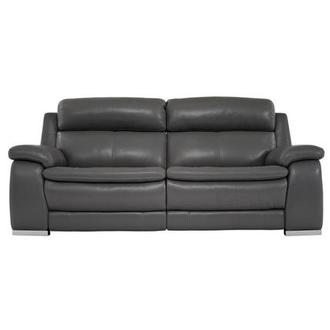 Matteo Gray Power Motion Leather Sofa