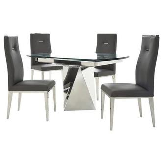 Ulona/Hyde I Dark Gray 5-Piece Formal Dining Set