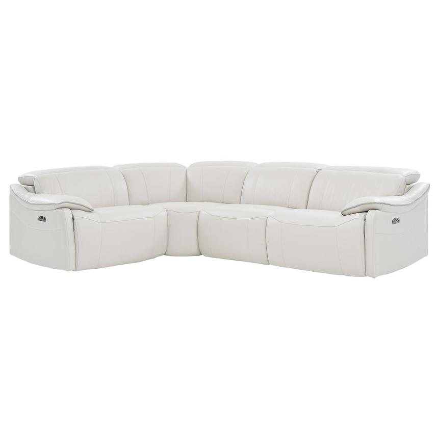 Austin White Leather Power Reclining Sectional  main image, 1 of 7 images.