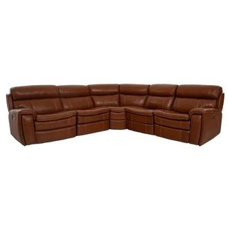 Napa Tan Leather Power Reclining Sectional