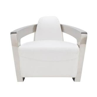 Aviator II White Leather Accent Chair