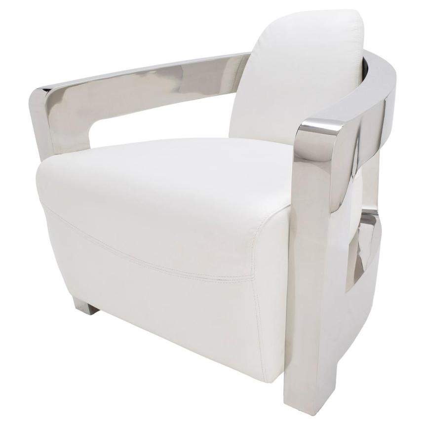 Aviator II White Leather Accent Chair  alternate image, 3 of 7 images.
