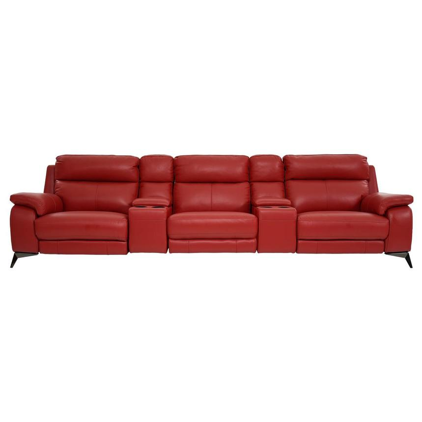 Barry Red Home Theater Leather Seating  main image, 1 of 11 images.