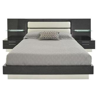 Ally Gray King Platform Bed w/Nightstands