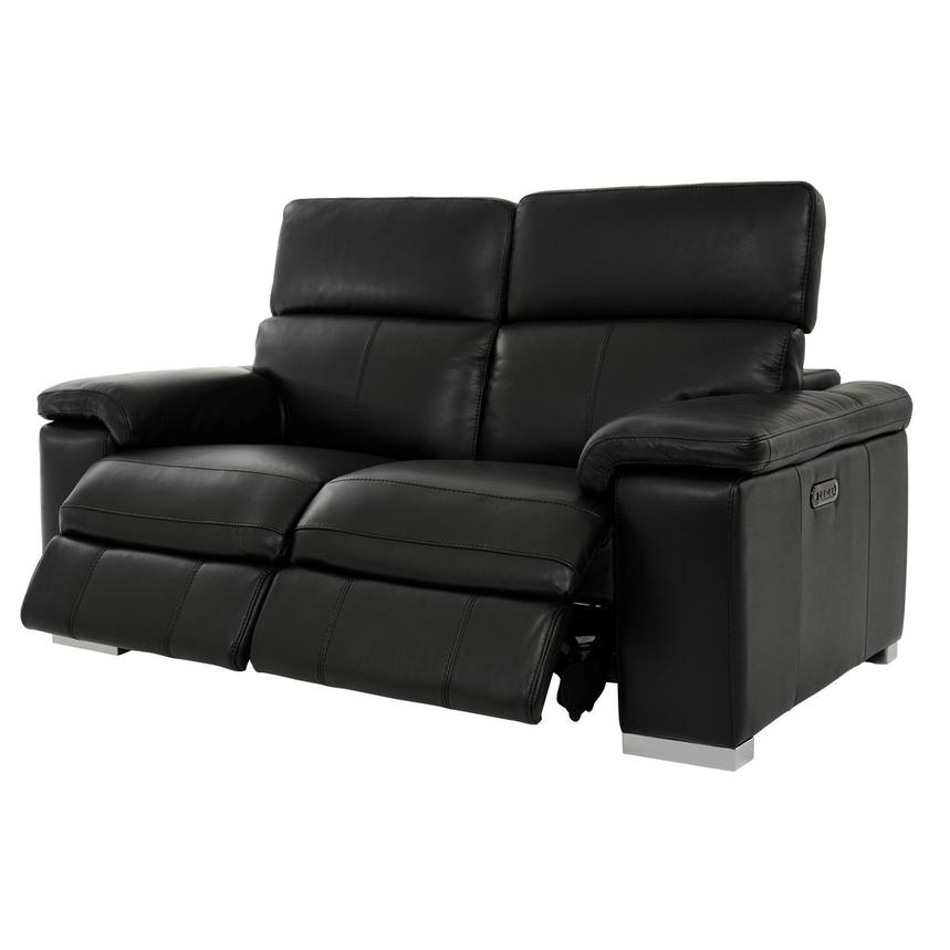 Charlie Black Leather Power Reclining Loveseat  alternate image, 3 of 12 images.