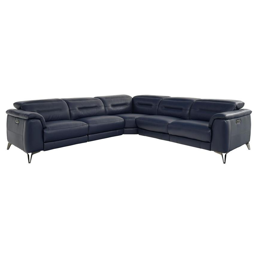 Anabel Blue Leather Power Reclining Sectional  main image, 1 of 7 images.