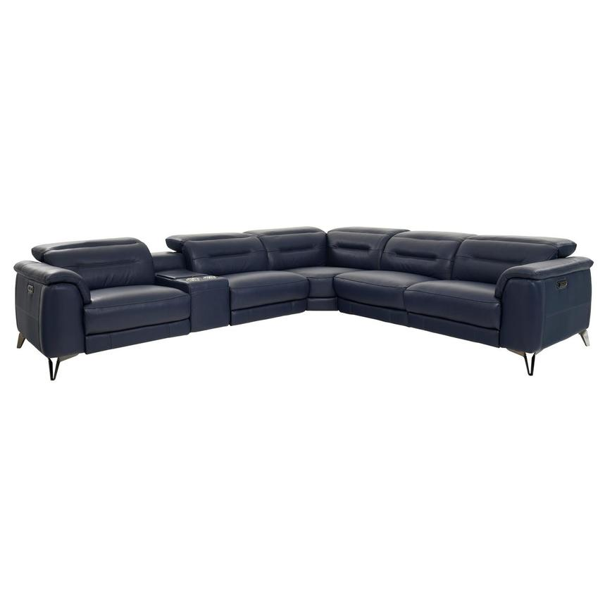 Anabel Blue Leather Power Reclining Sectional  main image, 1 of 8 images.