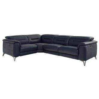 Anabel Blue Leather Power Reclining Sectional