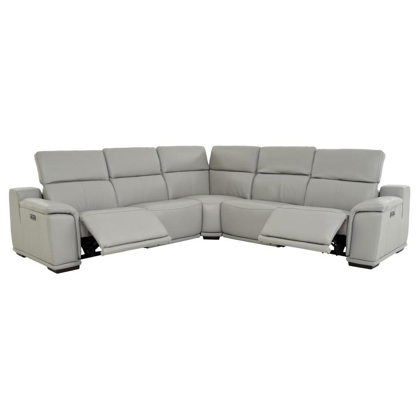 Davis 2.0 Light Gray Power Motion Leather Sofa w/Right & Left Recliners  alternate image, 2 of 9 images.