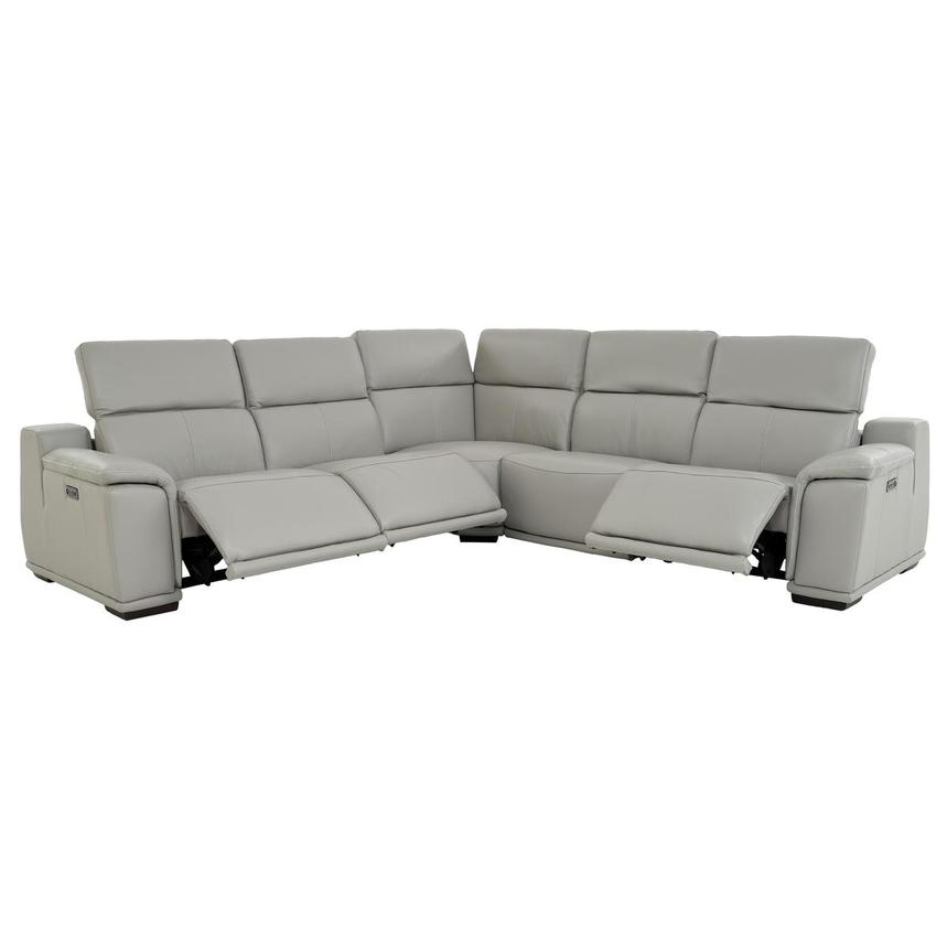 Davis 2.0 Light Gray Leather Power Reclining Sectional  alternate image, 2 of 10 images.