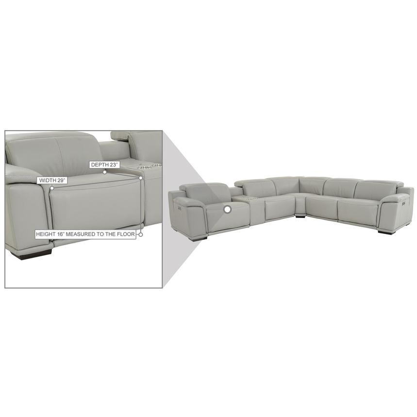 Davis 2.0 Light Gray Leather Power Reclining Sectional  alternate image, 11 of 11 images.