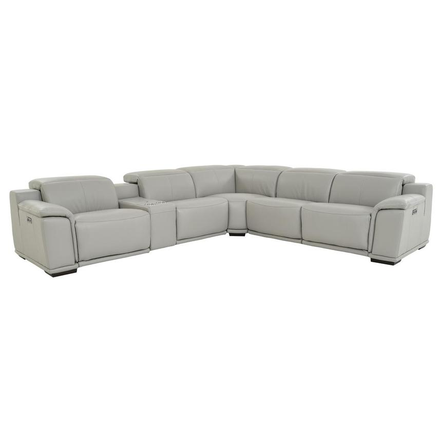 Davis 2.0 Light Gray Leather Power Reclining Sectional  main image, 1 of 11 images.