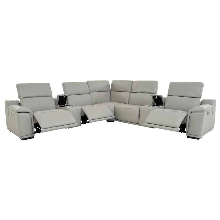 Davis 2.0 Light Gray Power Motion Leather Sofa w/Right & Left Recliners  alternate image, 2 of 10 images.