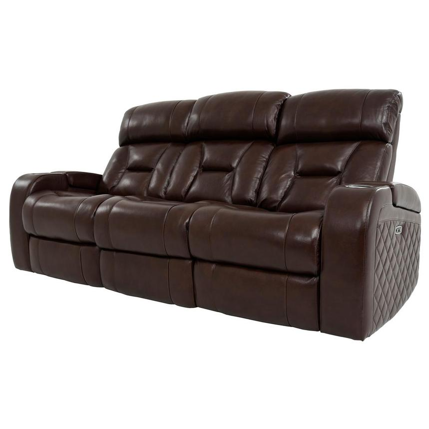 Gio Brown Leather Power Reclining Sofa  alternate image, 2 of 18 images.
