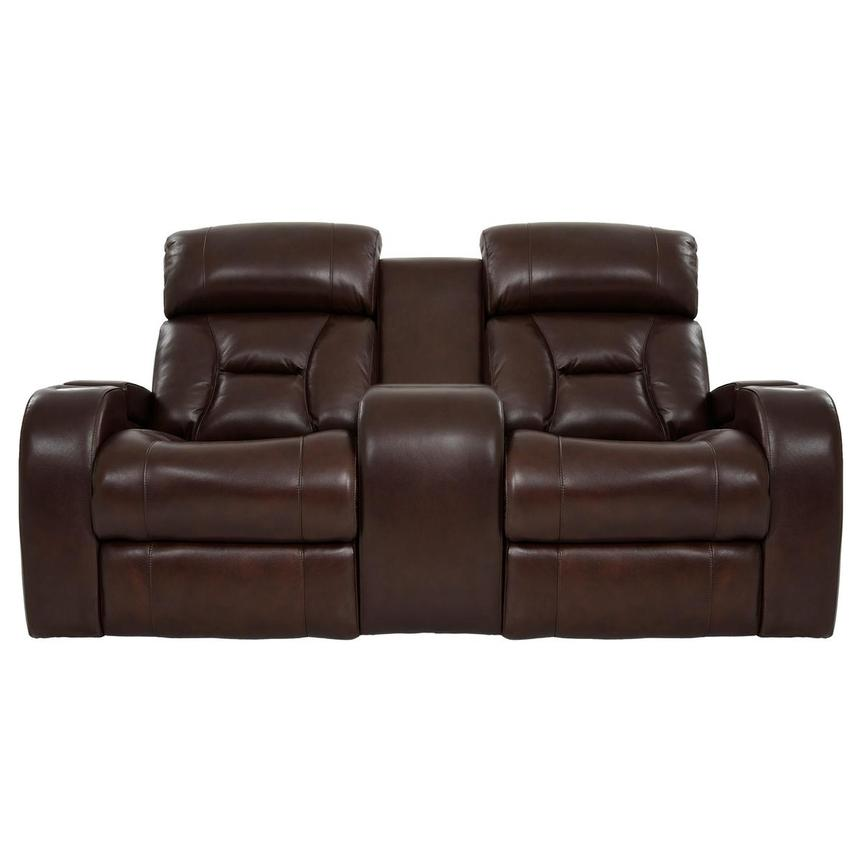 Gio Brown Leather Power Reclining Sofa w/Console  main image, 1 of 14 images.