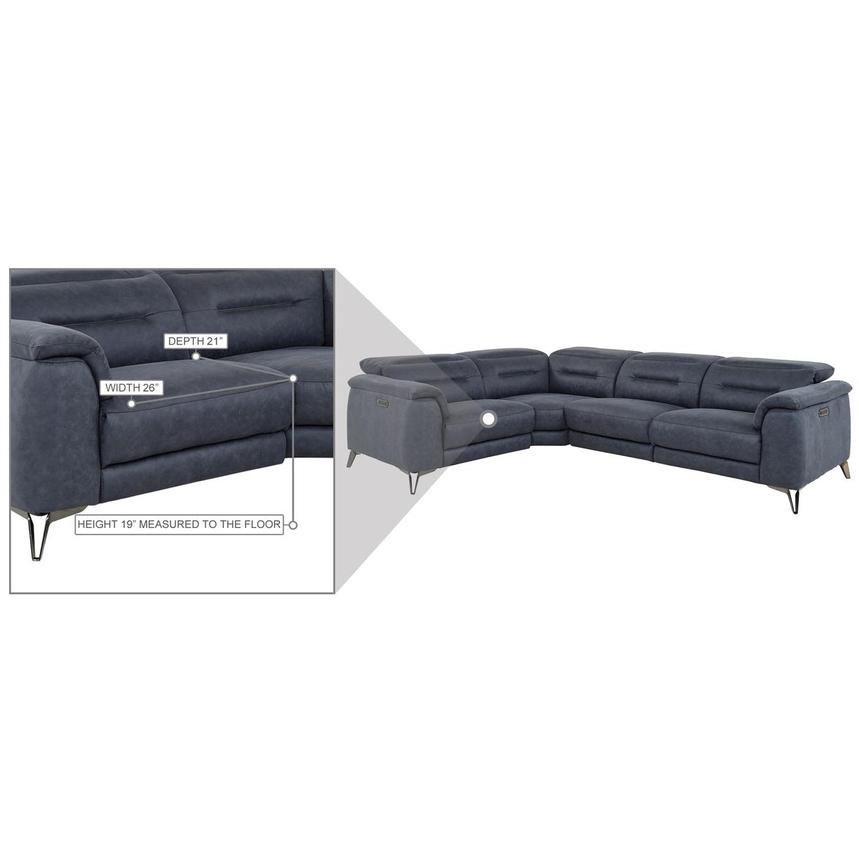 Claribel II Blue Power Reclining Sectional  alternate image, 10 of 11 images.