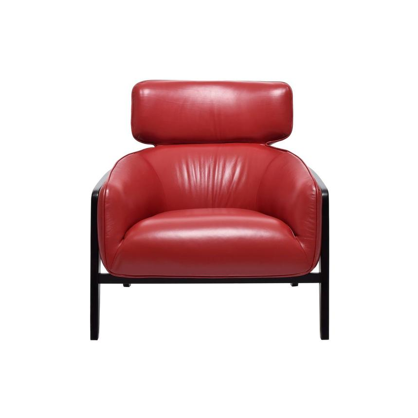 Irene II Red Leather Accent Chair  main image, 1 of 7 images.