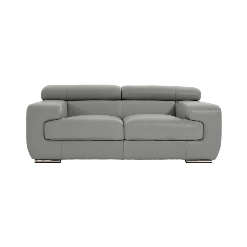 Grace Light Gray Leather Loveseat  main image, 1 of 9 images.