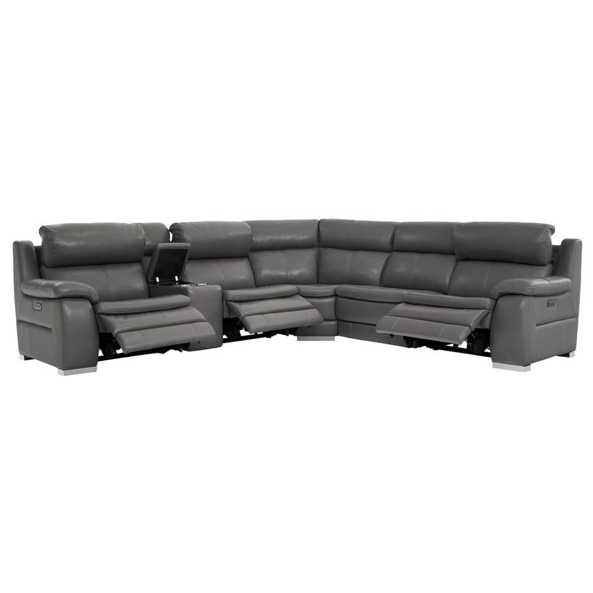 Matteo Gray Power Motion Leather Sofa w/Right & Left Recliners  alternate image, 2 of 11 images.