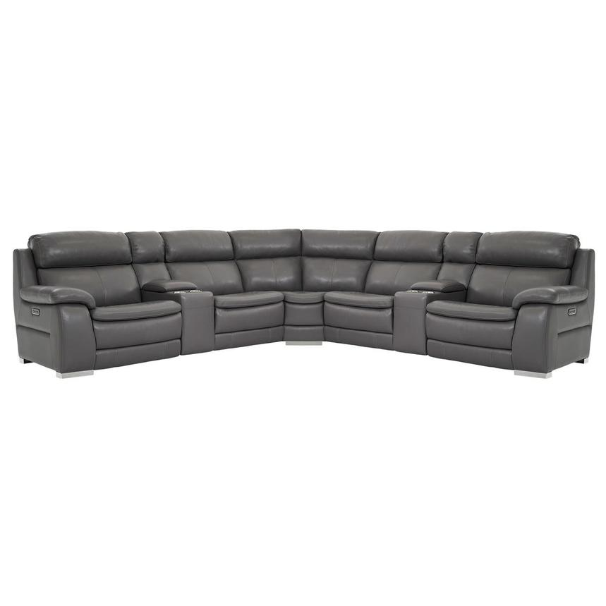 Matteo Gray Leather Power Reclining Sectional  main image, 1 of 11 images.
