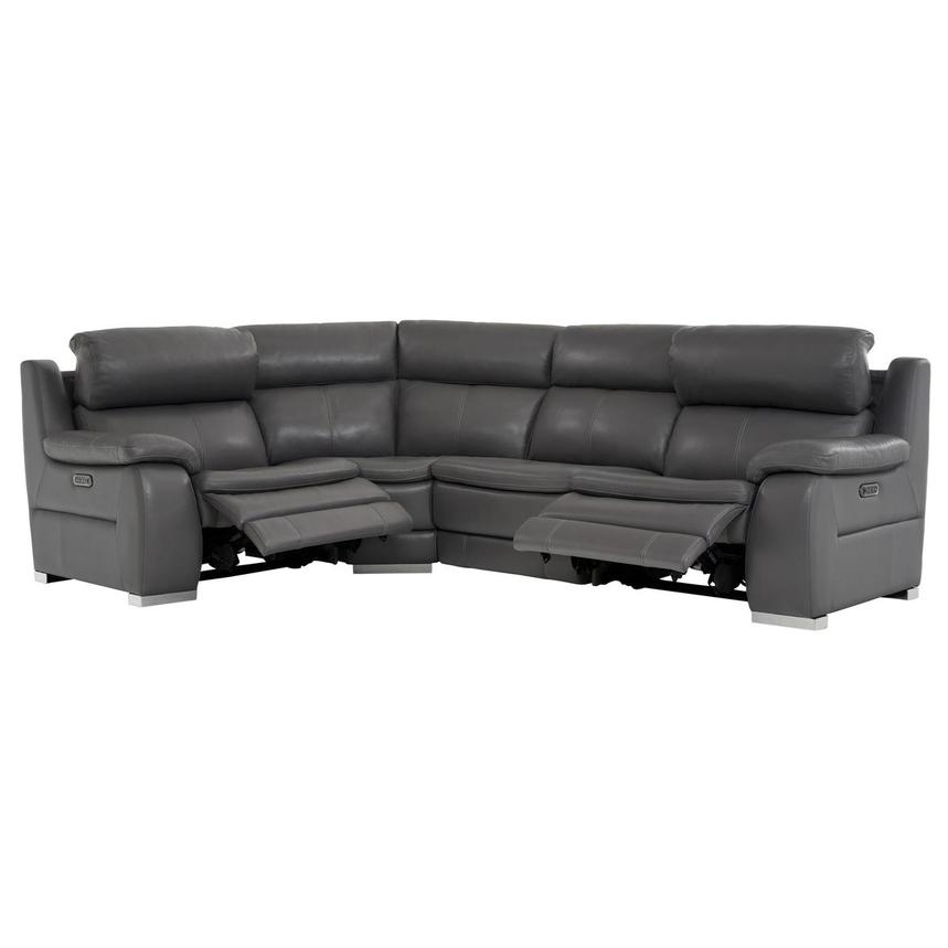 Matteo Gray Power Motion Leather Sofa w/Right & Left Recliners  alternate image, 2 of 10 images.