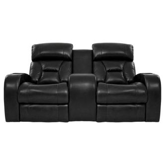 Gio Black Leather Power Reclining Sofa w/Console